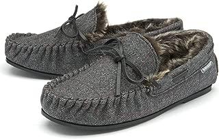 Dunlop Mens Moccasin Slippers Faux Fur Lined Memory Foam Sizes 7-12