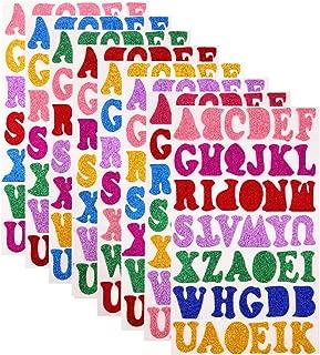 Sunmns 328 Pieces Glitter Foam Stickers Self Adhesive Alphabet Letters Stickers, 7 Colors Random, 8 Sheets
