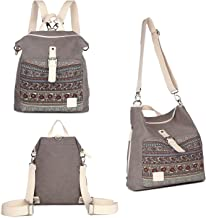 Womens Backpack Purse Canvas 3-Way Convertible Crossbody Bag Boho Shoulder Tote Bags Girls Travel Daypack