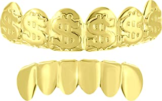 Top Bottom Grillz Mouth Dollar Sign Tooth Caps Grills 14k Yellow Gold Finish