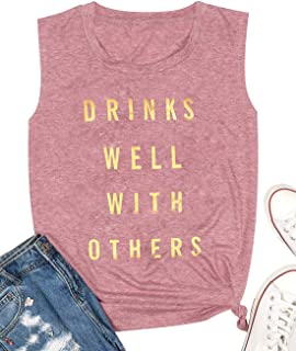 MAXIMGR Drinks Well with Others Women Sleeveless Letters Print Tank Top Casual Black T-Shirt Blouse
