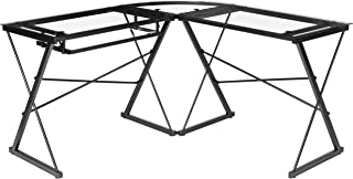 AmazonBasics Three Piece Corner/Gaming Desk - Black with Clear Glass, BIFMA Certified