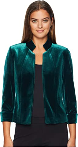 Stand Collar Open Velvet Jacket