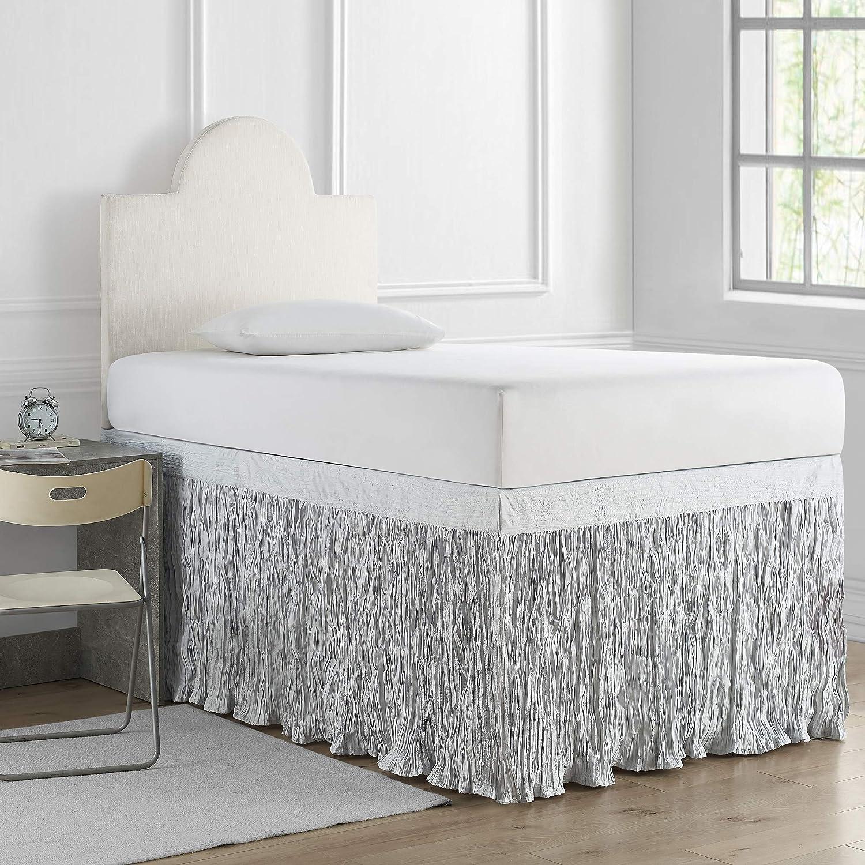 DormCo Crinkle Bed Skirt Twin XL Gray Glacier Fort Worth Mall - 3 Panel Set Denver Mall