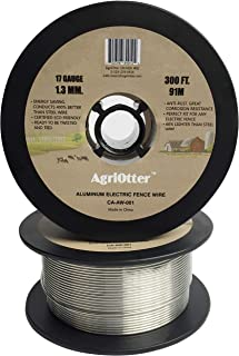 AgriOtter Aluminum Electric Fence Wire for Garden Fence, Electric Fence, Chicken Wire Fence, Craft Wire, 300 feet(91M) 17 Gauge (1.3 mm.) (0.05 inch) Aluminum Wire