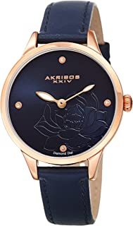 Flower Engraved Dial Watch - 4 Diamond Markers On a Leather Strap Women's Watch - Beautiful Gift Box Perfect for Mothers Day - AK1047