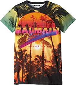 Short Sleeve Palm Tree Balmain Beach Club Tee (Big Kids)