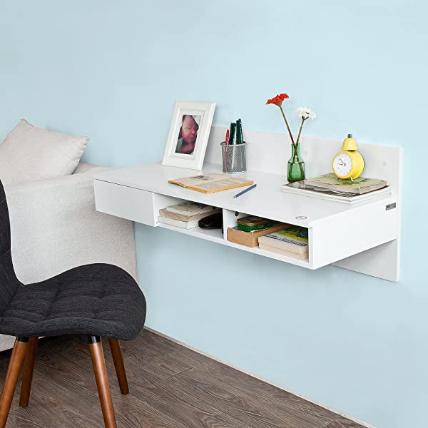 Haotian FWT30 W White Wall Mounted Computer Table Desk Home Office Desk Workstation With 1 Drawer And 2 Open Compartments