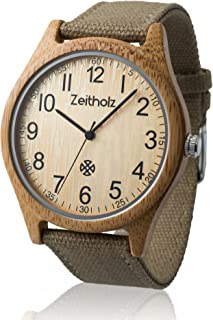 Wooden Watch for Men and Women - 100% Natural Bamboo Case - Canvas Wrist Band - Eco-Friendly - Unique Watches for Men and Women
