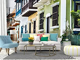 Colorful House facades of Old san Juan, Puerto rico Puerto ricos Canvas Print Wallpaper Wall Mural Self Adhesive Peel & Stick Wallpaper Home Craft Wall Decal Wall Poster Sticker for Living Room