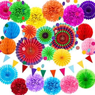 25 Pieces Party Decorations Paper Fans Pom Poms Flowers Garlands String Circle Dot Triangle Bunting Flags Honeycomb Ball Party Supplies for Christmas Birthday Wedding Baby Shower (Multicolor)
