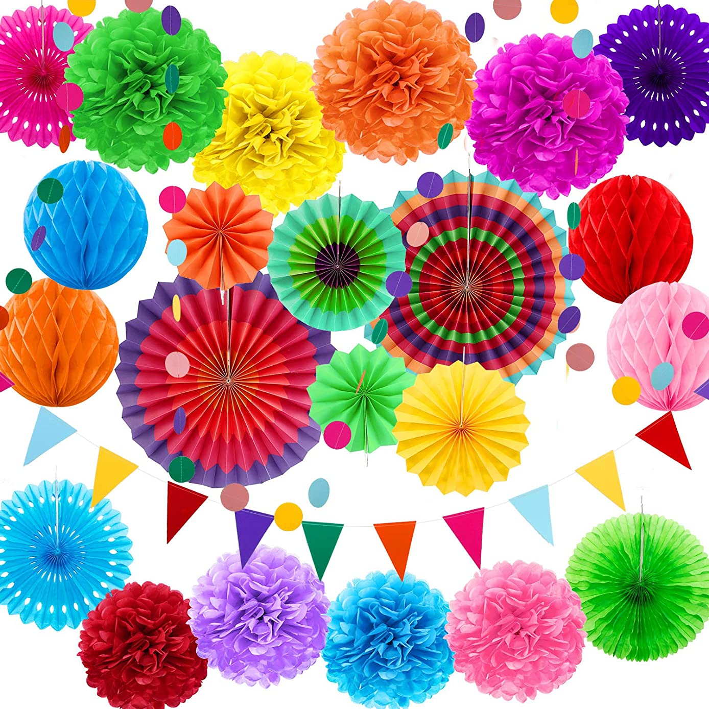 25 Pieces Mexican Fiesta Theme Party Decorations Multicolor Paper Fans Pom Poms Flowers Garlands String Circle Dot Triangle Bunting Flags Honeycomb Ball Rainbow Party Supplies for Mexican Fiesta