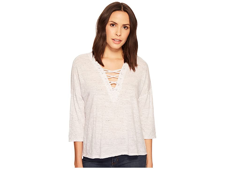 Three Dots Tie Front Tee (White) Women