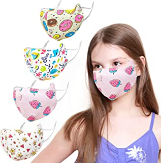 Kids Face Covering Washable Fabric Face Covering with Adjustable Elastic Ear Loops Face Reusable (BINGSI-7)