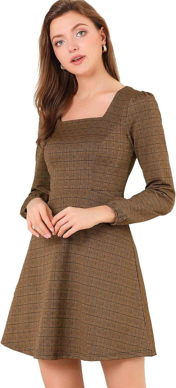 Allegra K Women's Fall Vintage Square Neck Long Sleeve Plaid Dress