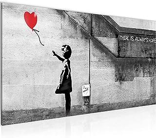 Tableau Decoracion Murale Banksy Ballon Fille 1 Partie Moderne Toile non tissée Salon Salle Art Urbain Rouge 301612a