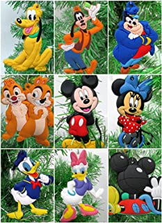 Mickey Mouse Clubhouse Deluxe 9 Piece Holiday Christmas Tree Ornament Set Featuring Mickey Mouse, Minnie Mouse, Pluto, Fifi, Daisy, Clarabelle, Donald Duck, Goofy, and Pete