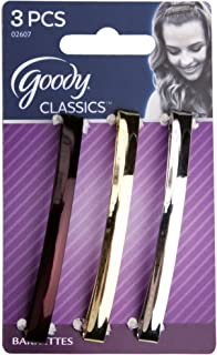 """Goody Stay Tight Metal Hair Barrettes 3"""" 02607 - Assorted Colors - 3 Count - 2 Packs"""