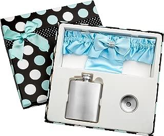 3oz Blue Garter Belt Hip Flask with Gift Box for Weddings, Free Engraving!