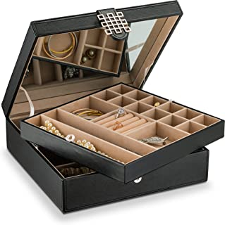 Glenor Co 28 Section Jewelry Box - 2 Layer - Buckle Snap & Magnet Closure - Large Mirror - Leather Design - Black - Jewelry Organizer for Women & Girls - Holder for Earring Ring Necklace & Bracelet