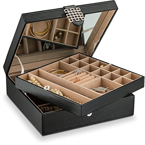 18c7048ca65 Glenor Co 28 Section Jewelry Box - 2 Layer - Buckle Snap   Magnet Closure -