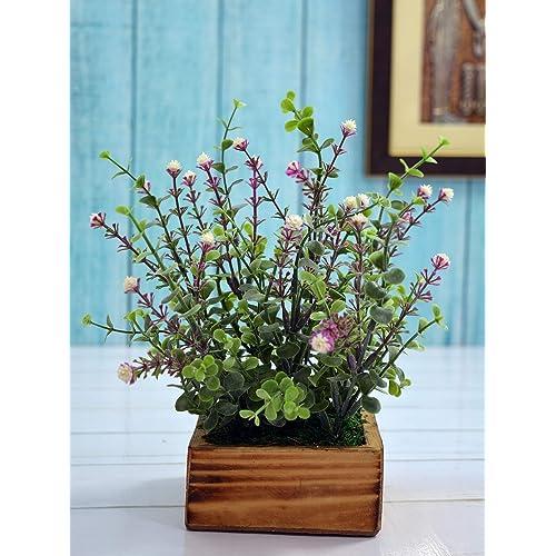 Fancy Mart Artificial Plant Hackleberry Bush (Size 8 Inchs/ 20 Cms) In Natural Wood Pot-1306
