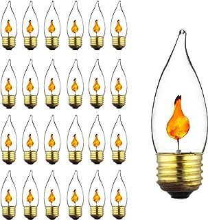 Sunlite 40109-SU 3 Watt Halloween Incandescent Chandelier Flickering Flame Light Medium (E26) Base, Crystal Clear Bulb, 25 Pack, TIP