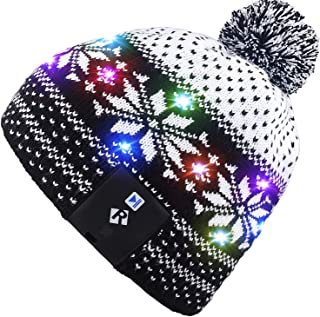 Mydeal Stylish Unisex Men Women LED Light Up Beanie Hat Cap for Indoor, Outdoor Sports, Skiing, Snowboard, Walking, Leisure, Festival, Holiday, Celebration, Parties, Birthday, Bar,Christmas Gift