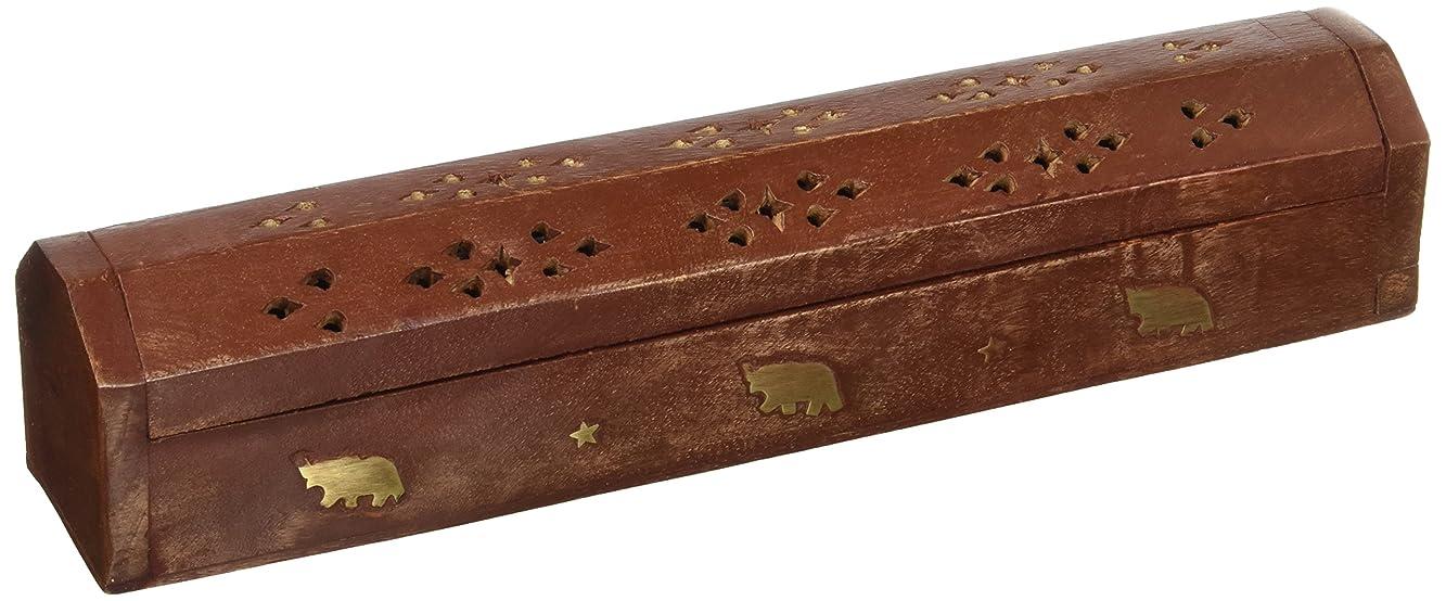 カウボーイ火星容疑者SouvNear 30cm Wooden Incense Stick Burner Coffin Incense Burner Cone Holder with Storage Compartment Regal Hand Carved Brass Inlay Elephant Decor
