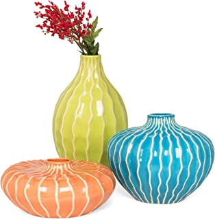 Best Choice Products Set of 3 Home Decorative Ceramic Accent Vases for Living Room, Bedroom, Dining Room, Office, Indoor/Outdoor Events w/Assorted Sizes, Stain-Resistant Finish, Blue, Green, Orange