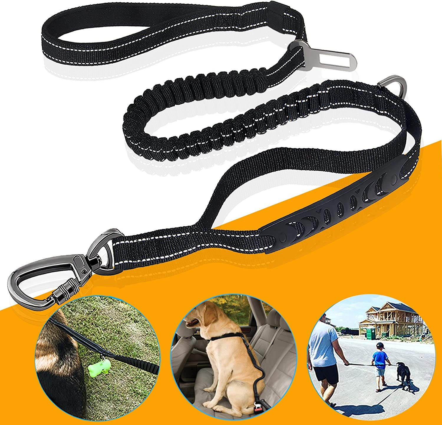 Fashion&cool Heavy Duty Dog Leash Especially Large Dogs Up to 150lbs, 6 Ft Reflective Dog Walking Training Shock Absorbing Bungee Leash Car Seat Belt Buckle, 2 Padded Traffic Handle Extra Control