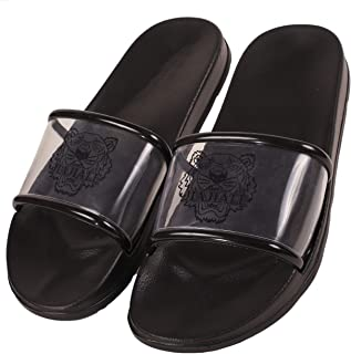DRUNKEN Slipper for Men's Flip Flops House Slides Home Bathroom Clogs Outdoor Black Sandals
