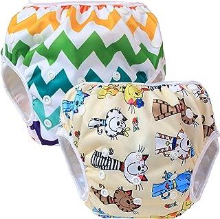 Teamoy 水遊びパンツ 2点セット 0-3歳 赤ちゃん用 ボタンでサイズ調整可能 防水外層 ポリエステルメッシュ内層 オムツカバー スイミング教室・公園・海水浴・温泉旅行(猫+カラフルな波)