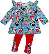 So Sydney Toddler 2 Pc Christmas Ruffle Pant Tunic Top Holiday Girls Boutique Clothing Outfit