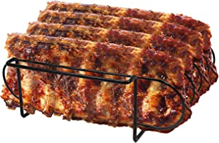 Sorbus Non-Stick Rib Rack – Porcelain Coated Steel Roasting Stand – Holds 4 Rib Racks for Grilling & Barbecuing (Black)