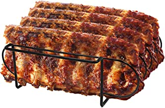 Sorbus Non-Stick Rib Rack � Porcelain Coated Steel Roasting Stand � Holds 4 Rib Racks for Grilling & Barbecuing (Black)