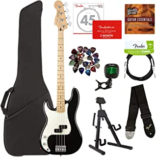 Fender Player Precision Bass, Maple, Left Handed - Black Bundle with Gig Bag, Stand, Cable, Tuner, Strap, Strings, Picks, Fender Play Online Lessons, and Austin Bazaar Instructional DVD