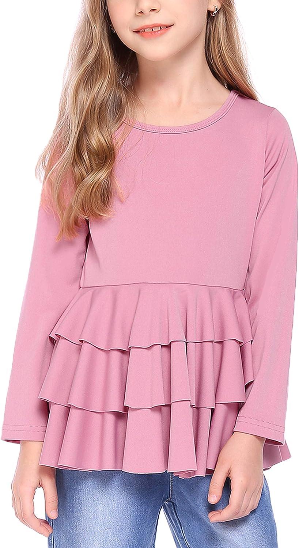 Selling Arshiner Girls Casual Tunic Tops Layered Sleeve shipfree Hem Ruffle Long