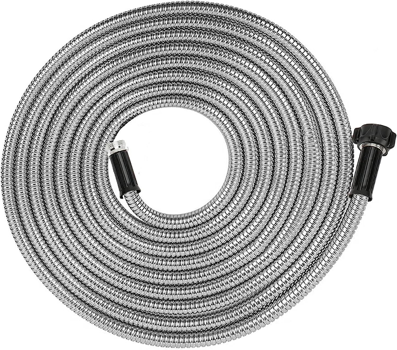 Yanwoo 304 Stainless Steel 60 Feet Garden Hose, Lightweight, Kink-Free, Heavy Duty Outdoor Hose (60ft)