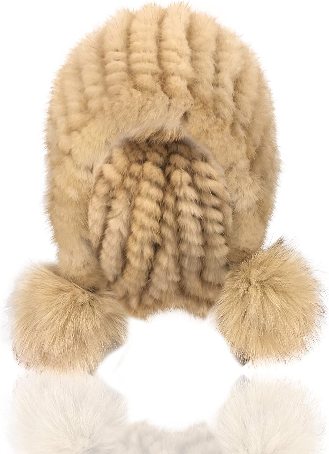 Uilor Natural Mink Fur Hat With fox fur pompoms