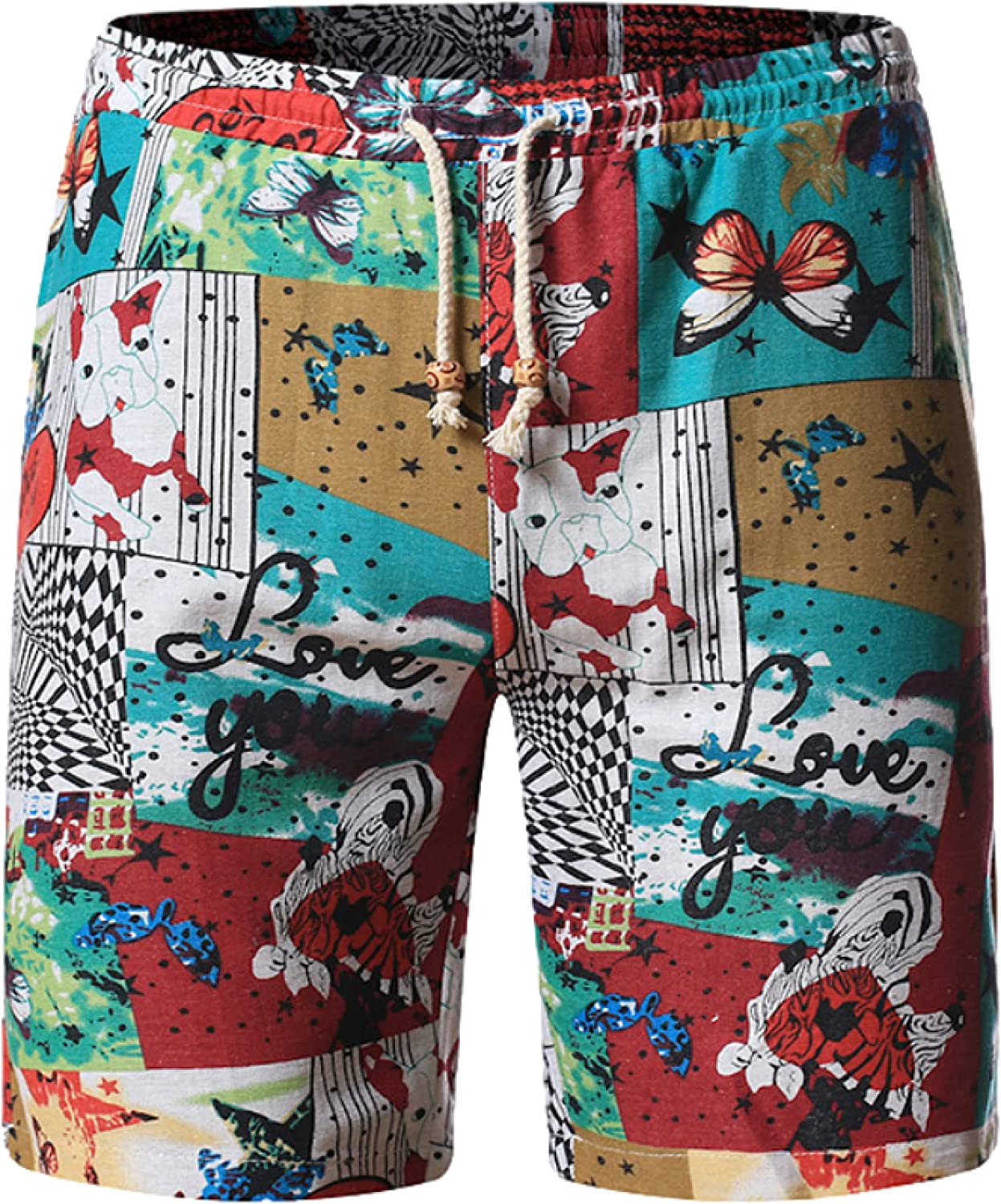 Wantess Men's Loose Fit Shorts Summer Fashion Trend Personality Printing Casual