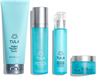 TULA Probiotic Skin Care Discovery Kit (Full-Size) | Face Wash, Day & Night Face Moisturizer, Illuminating Serum, Pro-Glycolic Resurfacing Face Toner for Glowing and Balanced Skinul Skin