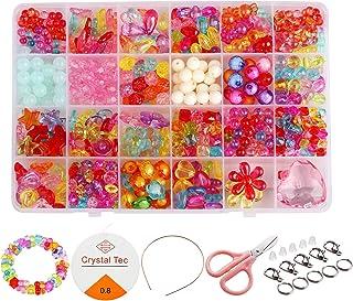 Beautyshow 500 Pcs DIY Beads Set, Craft Beads Kids Colorful Diy Beads Toy Acrylic Handmade Beaded for DIY Necklaces Bracel...