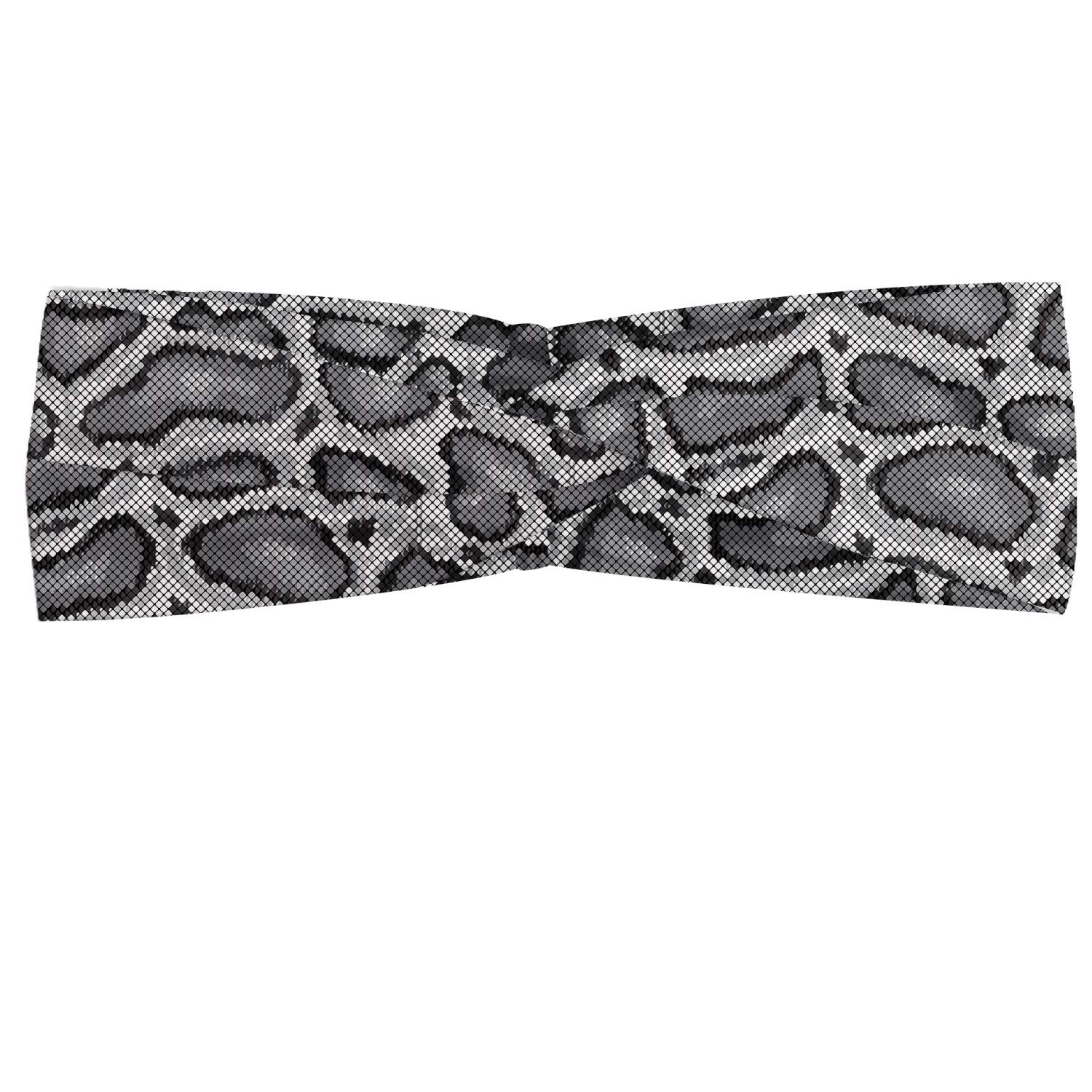 Lunarable Reptile Headband, Python Snake Skin Design Monochrome Abstract Animal Hide Pattern Geometric, Elastic and Soft Women's Bandana for Sports and Everyday Use, Grey Charcoal Grey