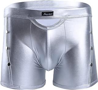 Men's Wetlook Bikini Swim Trunks Swimsuit Side Rivets Metallic Pouch Boxer Shorts Briefs Underwear