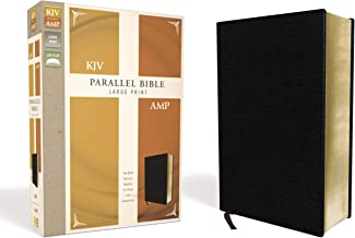 KJV, Amplified, Parallel Bible, Large Print, Bonded Leather, Black, Red Letter Edition: Two Bible Versions Together for Study and Comparison