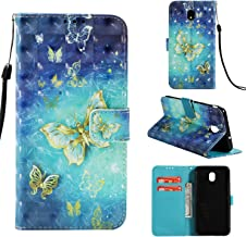 Galaxy J7 Aero/J7 Top/J7 Crown/J7 Aura/J7 Refine/J7 Eon/J7 Star Glitter, UZER 3D Premium PU Leather Shockproof Series Kickstand Function Folio Flip Wallet Case with Card Slots & Money Slot