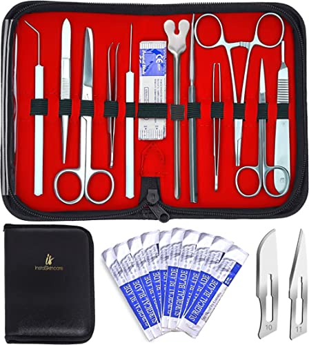 20 Pcs Advanced Dissection Kit Biology Lab with Reusable Silicone Pad Anatomy Dissecting Set with Stainless Steel Sca...