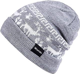 Wantdo Women's Outdoor Soft Double Layer Fleece Lined Beanie Knit Hat with Elks Pattern