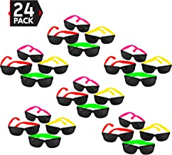 24 Pack 80's Style Neon Party Sunglasses - Fun Gift, Party Favors, Party Toys, Goody Bag Favors